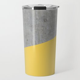 Concrete and Primrose Yellow Color Travel Mug