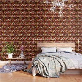 Book Case Pattern - Red and Gold Wallpaper