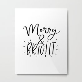 Merry and Bright Svg - Digital File - Clip Art - SVG, PNG, JPG, - Personal and Commercial Use - Arts Metal Print