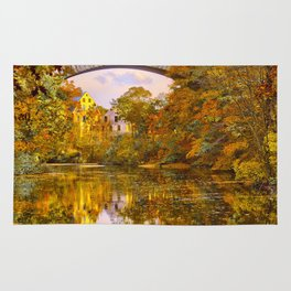 Fall at Upper Falls, Massachusetts.  Echo Bridge Rug