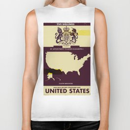 United States Vintage map cover Biker Tank