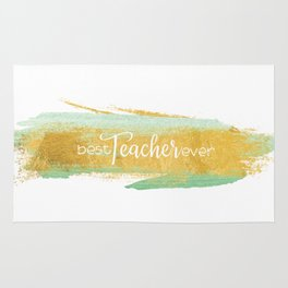 Best Teacher Ever   Gold and Mint Watercolor Rug