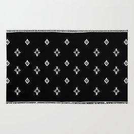 Rhombus & Lines White on Black Rug