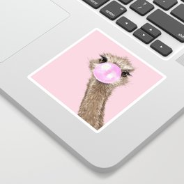 Sneaky Ostrich with Bubble Gum in Pink Sticker