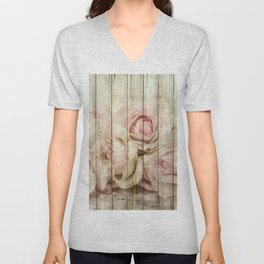 Shabby Chic Country Floral Rose Wood Unisex V-Neck