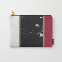 Marble Mix Stripes #2 #black #white #red #gold #decor #art #society6 Carry-All Pouch