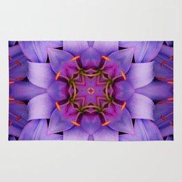 Purple Flower Kaleidoscope, Scanography Art Rug