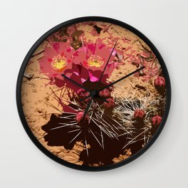 Red Cacti Abstract Wall Clock