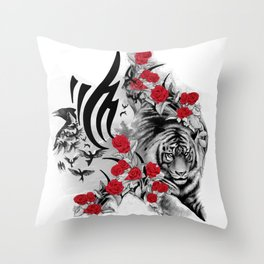 Tiger and Roses Throw Pillow