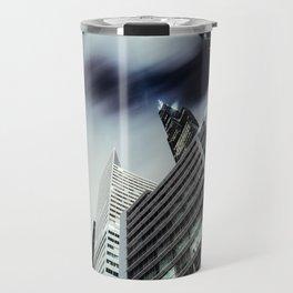 Cityscape I - Contemporary Skyscrapers Minimal Modern Studio Office Art Print Chicago Travel Mug