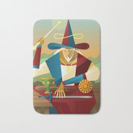 magician juggler with cup, wooden staff, sword and gold tarot card Bath Mat