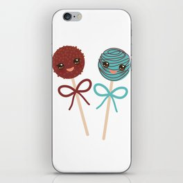 cute funny kawaii chocolate and blue Sweet Cake pops set with bow on white background iPhone Skin