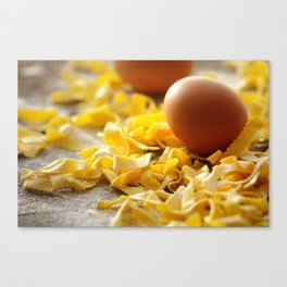 Fresh italian Pasta with egg Canvas Print