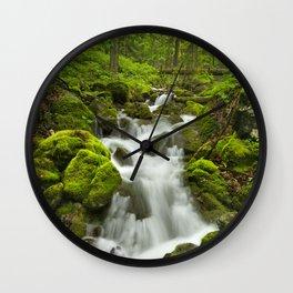 II - Waterfall in a lush gorge in Slovenský Raj, Slovakia Wall Clock