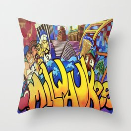 MILWAUKEE: heartMilwaukee Throw Pillow