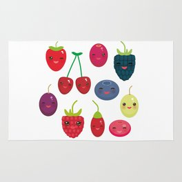 Kawaii Cherry Strawberry Raspberry Blackberry Blueberry Cranberry Cowberry Goji Grape Rug