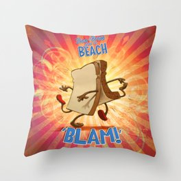 "Slice of Bread goes to the Beach ""BLAM"" Throw Pillow"