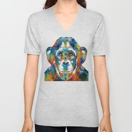 Colorful Chimp Art - Monkey Business - By Sharon Cummings Unisex V-Neck