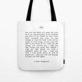 Life quote F. Scott Fitzgerald Tote Bag