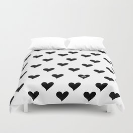 Retro Hearts Pattern Black White Duvet Cover
