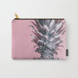 Silver and pink tropical pineapple Carry-All Pouch