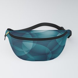 Dark intersecting heavenly translucent circles in bright colors with the blue glow of the ocean. Fanny Pack