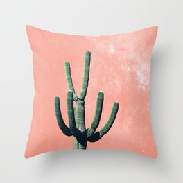 Pink Cactus Boho Mexican Throw Pillow