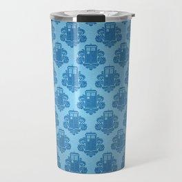 Blue Tardis Pattern Travel Mug