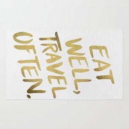 Eat Well Travel Often on Gold Rug