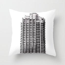 Barbican - Brutalist building illustration Throw Pillow