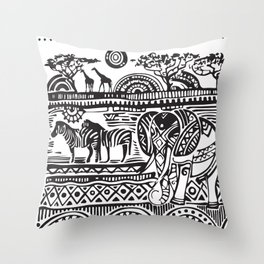 African Tribal Pattern No. 17 Throw Pillow