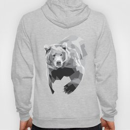 Geometric Bear on White Hoody