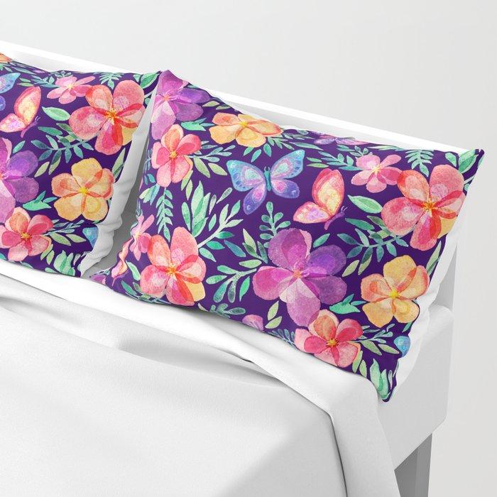 Summer Blooms & Butterflies on Dark Purple Pillow Sham