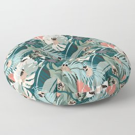Pugs and Tropical Plants Floor Pillow