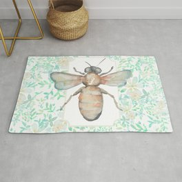 Garden Bee and Blooming Flowers Rug