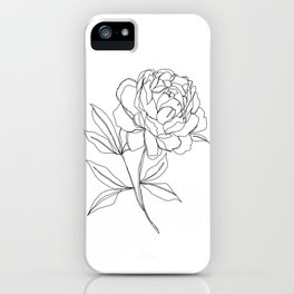 Botanical illustration line drawing - Peony iPhone Case
