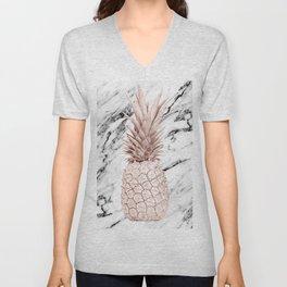 Pineapple Rose Gold Marble Unisex V-Neck