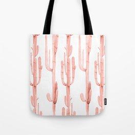 Pretty Coral Pink Cactus Pattern Tote Bag