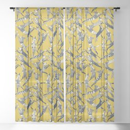 dog party indigo yellow Sheer Curtain