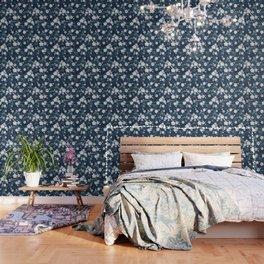 Navy and white cherry blossom pattern Wallpaper
