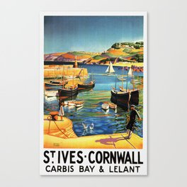 Vintage St. Ives Cornwall England Travel Canvas Print