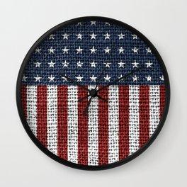 USA American Flag Rustic Jute Style 4th July Decor Wall Clock