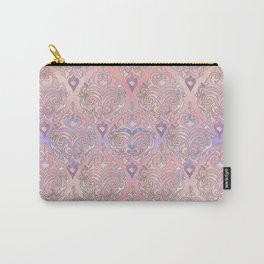 Persian Oriental Rose Marble and Silver Carry-All Pouch
