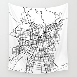 SANTIAGO DE CHILE BLACK CITY STREET MAP ART Wall Tapestry