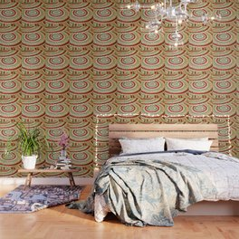 Mosaic Circular Pattern In Red and Gold Wallpaper