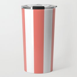 Tea rose pink - solid color - white vertical lines pattern Travel Mug
