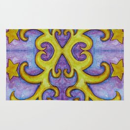 STARS & SWIRLS, watercolor painting Rug