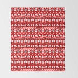 American Bulldog Silhouettes Christmas Sweater Pattern Throw Blanket