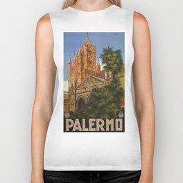 vintage Palermo Sicily Italian travel ad Biker Tank