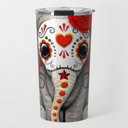 Deep Red Day of the Dead Sugar Skull Baby Elephant Travel Mug